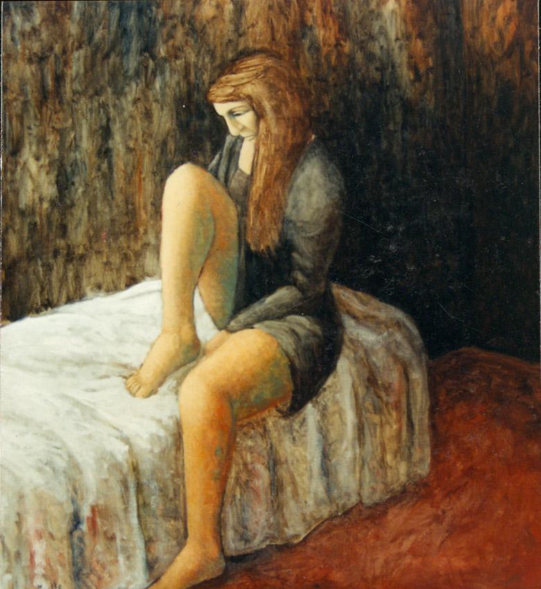 Femme sur le lit